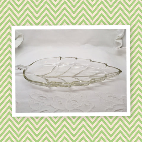 "Vintage Clear Glass Leaf Shape Relish Candy Nut Dish 10"" Long Home Country Decor"