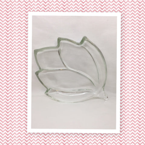 Vintage Clear Glass Leaf Shape Serving Relish Tray Plate Dish Vintage Home Decor Country Decor