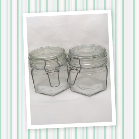 Canister Glass Jar Clear Glass Flip Top Wire Bale Clasp Vintage SET OF 2 Gift NO RUBBER RING
