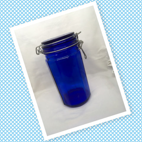 Bottle Jar Canister Cobalt Blue Glass Wire Closure NO Seal Ring NO Markings on Bottom Kitchen Decor Gift