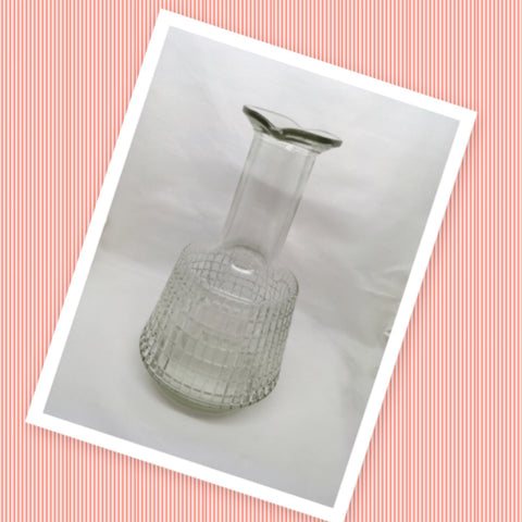 Bottle Decanter Carafe Clear Glass Waffle Design Pouring Indentions Markings Liquor 7 D 396 - JAMsCraftCloset