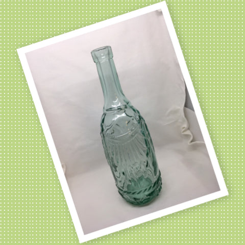 Bottle Green Glass Decorative Vintage Candlestick Holder Embossed Curtain, Flowers, and Rope - JAMsCraftCloset