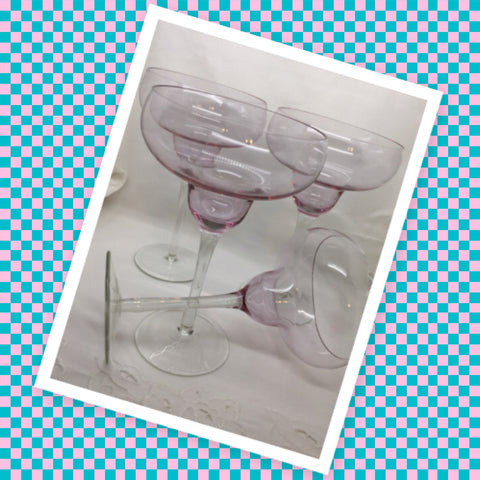 Stemware Vintage  Pale Pink Clear Glass Margarita Glasses SET of 4  Barware Wedding