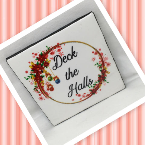 DECK THE HALLS Wall Art Ceramic Tile Sign Gift Idea Home Decor  Handmade Sign Country Farmhouse Gift Campers RV Gift Wall Hanging Holiday - JAMsCraftCloset
