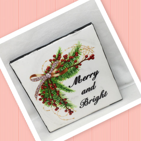MERRY AND BRIGHT Wall Art Ceramic Tile Sign Gift Idea Home Decor  Handmade Sign Country Farmhouse Gift Campers RV Gift Wall Hanging Holiday - JAMsCraftCloset