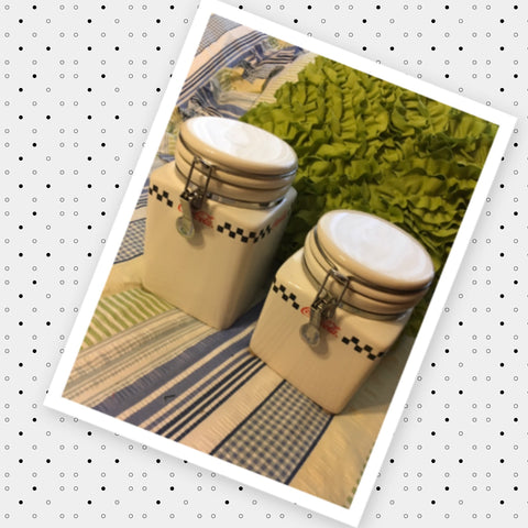Canister Set Coca Cola Gibson White Red Black Ceramic Jar  Vintage Wire Snap Lid Set of 2