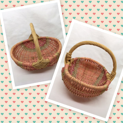 Basket SMALL Flower Girl Toddler Vintage Pink Green Oval Wicker Centerpiece Table Decor