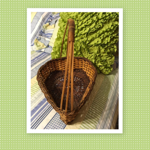 Basket Gathering Vintage Teardrop Shaped Light and Dark Natural Unique Woven - JAMsCraftCloset