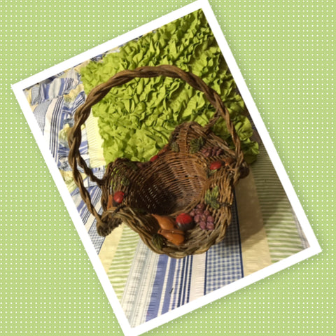 Basket Gathering Vintage Natural Wavy Woven With Fruit Appliques Large Round - JAMsCraftCloset