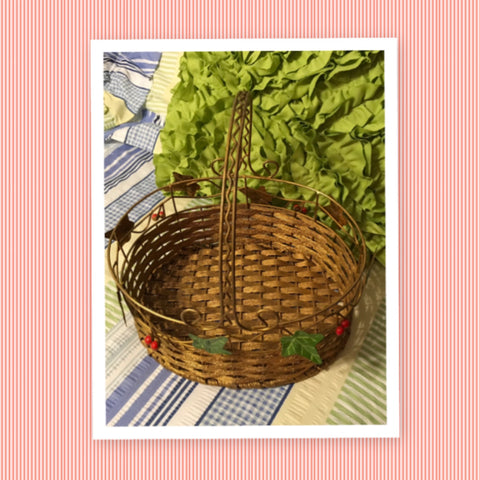 Basket Woven Oval Wire Christmas Vintage Gold Green Leaves Red Berries Holiday Decor