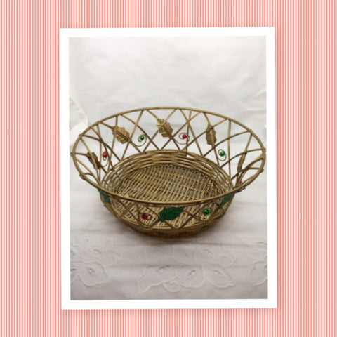 Basket Round Wire Glitter Christmas Vintage Gold Holly Green Red Berries No Handle Holiday Gift