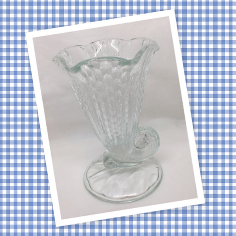 Vase Small Vintage Clear Glass Horn of Plenty Cornucopia Floral Flower Vase