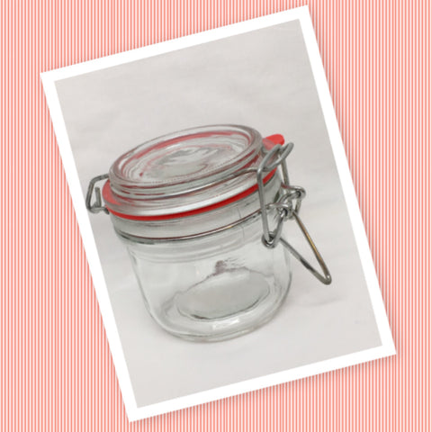 Flip Top Glass Jar Vintage 3 Inches Tall Wire Bale With Red Rubber Seal NO Markings