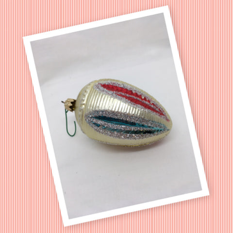 Ornament Vintage Teardrop Silver Glitter Christmas Mercury Glass Collectible Rare