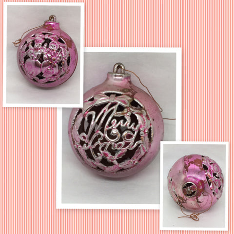 Ornament Vintage Christmas Plastic Pink Cut-Out Design 2 1/2 Inches in Diameter Holiday Tree Decor