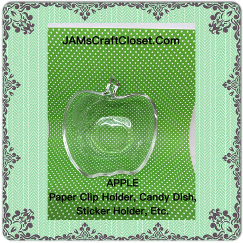 Apple Candy Dish Clear Glass Vintage Paper Clip Holder Jewelry Holder Teacher Gift - JAMsCraftCloset