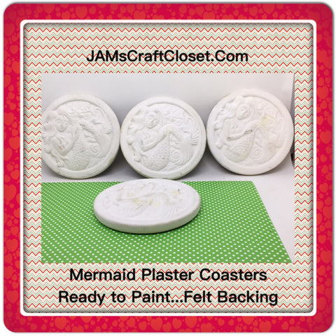 Ceramic Mermaid Ceramic Plaster Coasters  Vintage DIY Waiting for YOUR Creativity SET OF 4 - JAMsCraftCloset