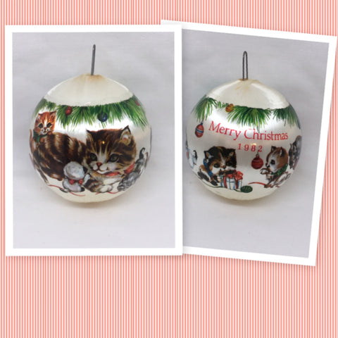 Ornament Vintage Satin Unbreakable Christmas Kittens Holiday Tree Decor c. 1982