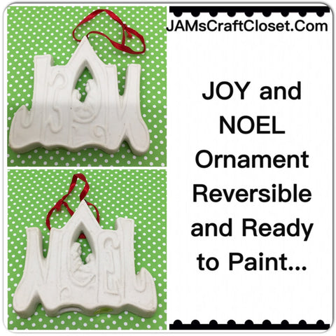 Joy and Noel Ceramic Ornament Christmas Holiday  Vintage DIY Waiting for YOUR Touch Reversible