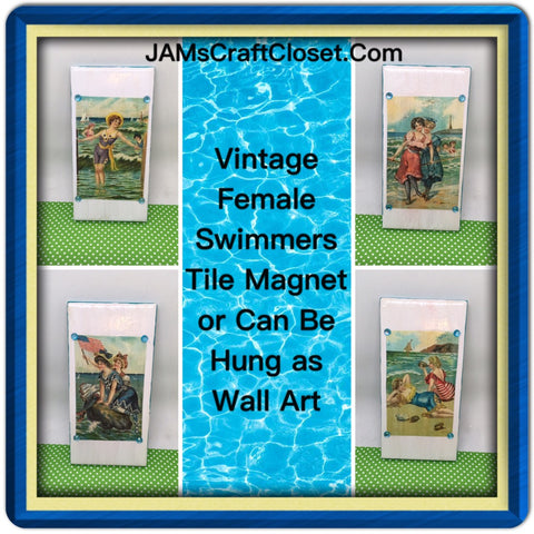 Magnets Ceramic Tile Vintage Girls at the Beach Cottage Chic Decor Victorian Decor by 3 by 6 Inches
