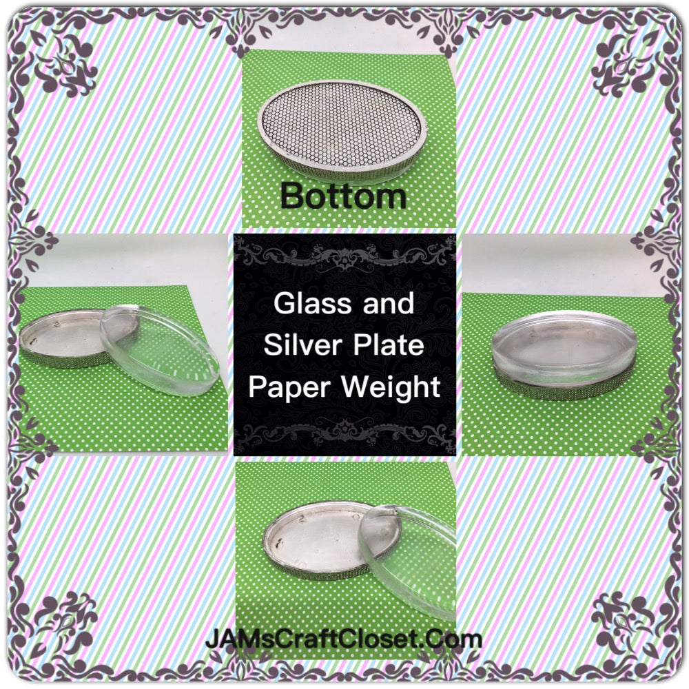 Glass and Silver Tone Heavy Paperweight  DIY 1 1/4 by 4 1/4 Inches Ready to Add YOUR Personal Touch