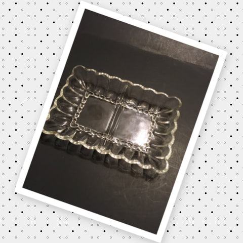 Tray Dish Relish Rectangle Clear Glass Vintage 2 Section Scalloped Edge