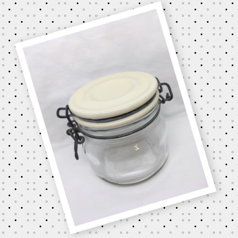 Flip Top Glass Jar Vintage 4 1/2 Inches Tall Wire Bale NO Rubber Seal White Ceramic Top