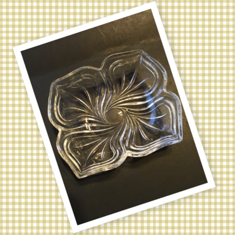 Bowl Round Clear Cut Glass 6 1/2 Inch Square Swirl Design Candy Nut Serving Dish - JAMsCraftCloset