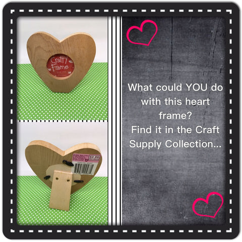Picture Frame SMALL Heart Shaped DIY Unfinished Wooden Ready to Add YOUR Personal Touch