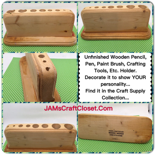Pen Pencil Paint Brush Craft Tool Holder Unfinished Handmade Wooden Ready to Add YOUR Personal Touch JAMsCraftCloset
