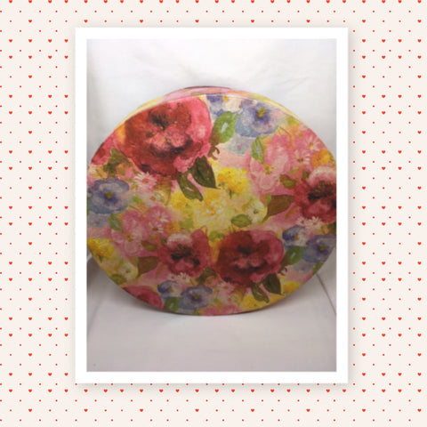 Hat Box Round Floral Design Redonda 4 Cardboard Storage Home Decor  10 1/2 Inches in Diameter