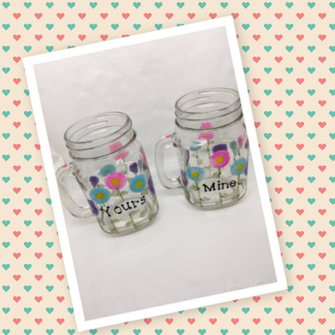 Mugs Mason Jar Hand Painted YOURS MINE Floral Happy Dot Flowers Hot Pink Aqua Purple
