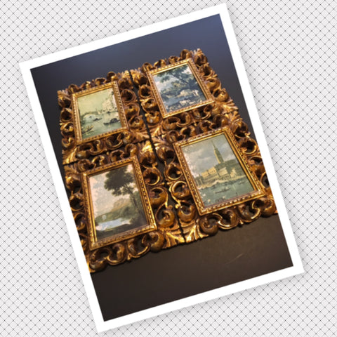Pictures Victorian Scenic Vintage Gold Plastic Frame Wall Art Country Cottage Chic Farmhouse SET OF 4