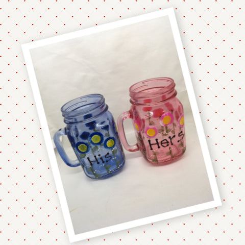 Mugs Mason Jar Hand Painted HIS HERS Pink Blue Floral Happy Dot Flowers
