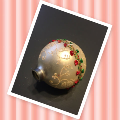 Ornament Vintage White Glitter Red Green Ribbon Trim Christmas Mercury Glass Collectible Rare Unique