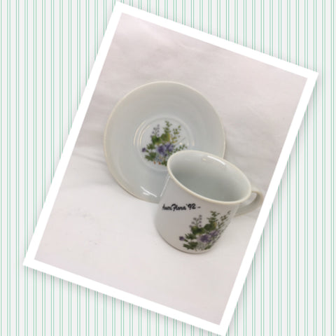 Tea Cup and Saucer VIOLETS Ameri Flora 1992 Made in Japan