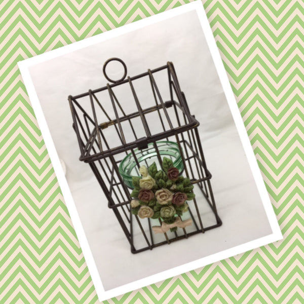 Birdcage Vintage House Shaped Metal Ceramic Floral Design Green Glass Candle Holder - JAMsCraftCloset