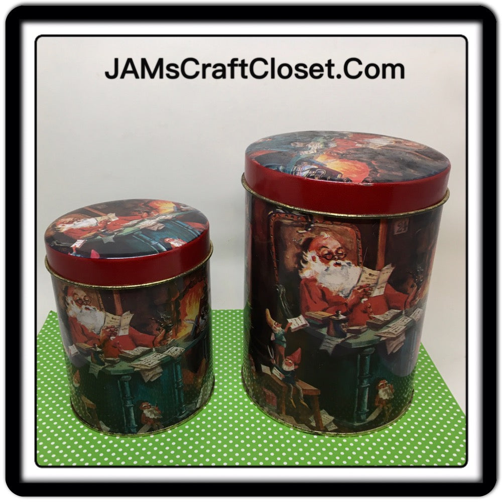 Tin Vintage Christmas Holiday Santa Reading Letters 4 Inches in Diameter 6 Inches Tall SET OF 2