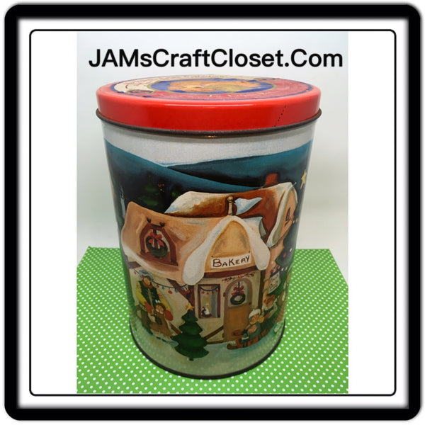 Tin Vintage Christmas Holiday Bakers Estate Collection 5 Inches in Diameter 7 1/2 Inches Tall Gift Tin JAMsCraftCloset