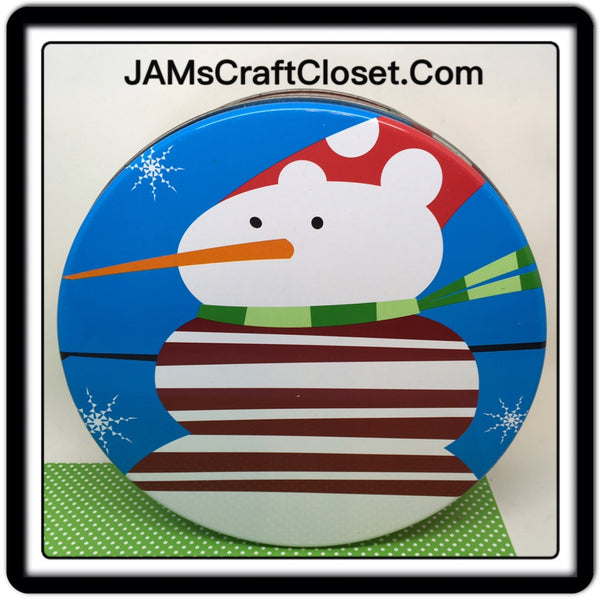 Tin Vintage Snowman 8 Inches in diameter 3 Inches Tall Gift Tin JAMsCraftCloset