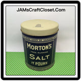 Tin Vintage Mortons Salt 4 Inches in Diameter 5 Inches Tall Gift Tin 1985
