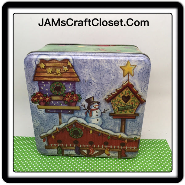 Tin Vintage Christmas Square Snowman and Birdhouse Scene 5 1/2 Square 3 Inches Tall JAMsCraftCloset