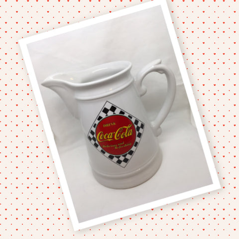 Pitcher Coca Cola Black Red Checkered Enesco 1995 Vintage Kitchen Decor Great Gift Idea Kitchen and Dining JAMsCraftCloset