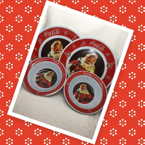 Cereal or Soup Bowls and Plates Santa Holding a Coca Cola Gibson SET OF 2 Bowls 2 Plates