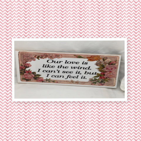 OUR LOVE IS LIKE THE WIND Ceramic Tile Sign Wall Art Wedding Gift Idea Home Country Decor Affirmation Wedding Decor Positive Saying - JAMsCraftCloset