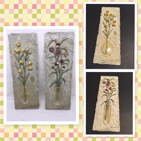 Plaque Floral 3 Dimensional Cheri Blum Wall Hanging SET OF 2 Floral Faux Stone Vintage Gift Idea