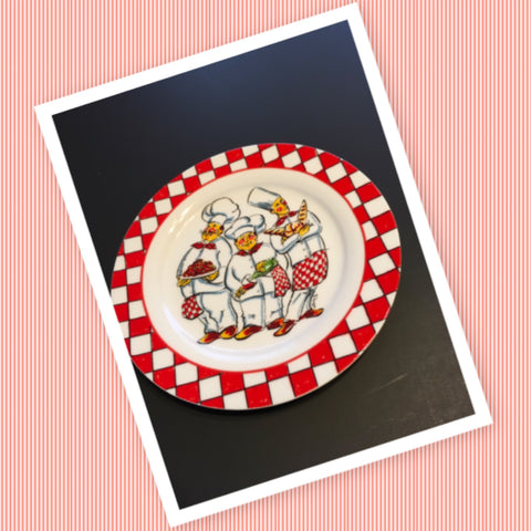 Chefs Plate Wall Art Red and White Checkered Kitchen Bar Decor I Godinger and Co
