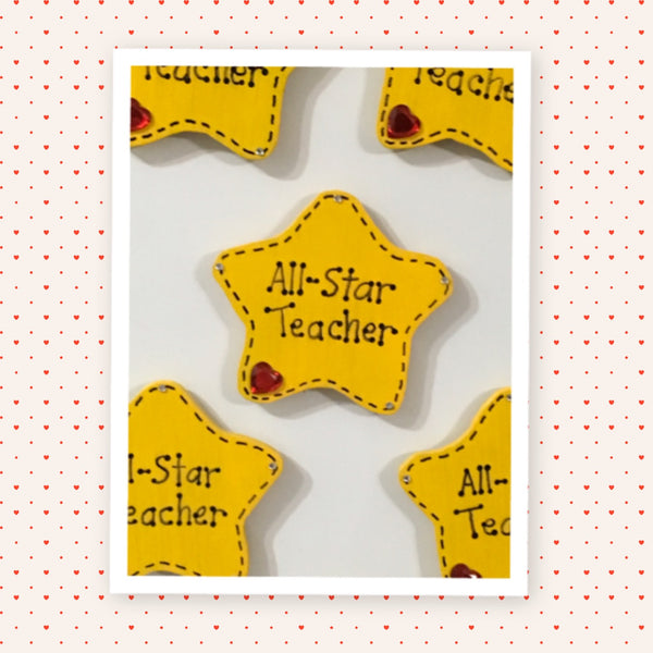 Magnet Wooden All-Star Teacher Handmade Hand Painted Gift Appreciation Classroom Decor - JAMsCraftCloset