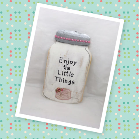 Enjoy the Little Things Wooden Mason Jar Sign Wall Art Wall Hanging Hand Painted