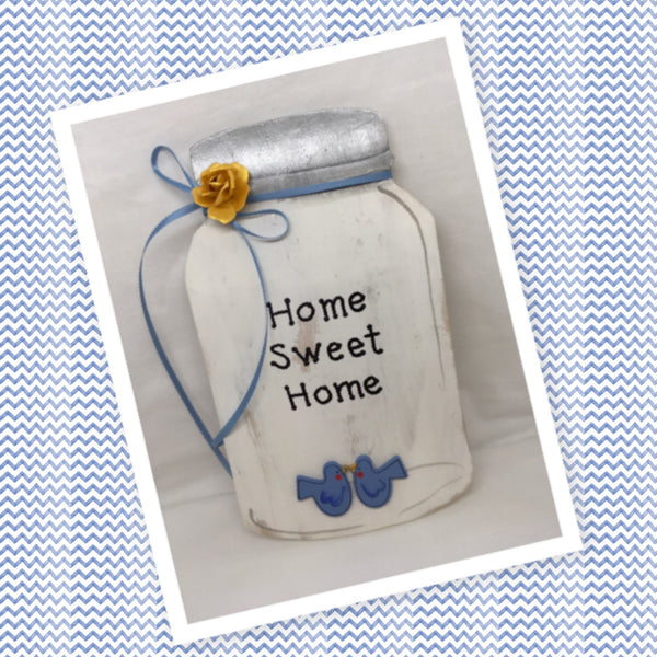 Home Sweet Home Wooden Mason Jar Sign Wall Art Wall Hanging Hand Painted